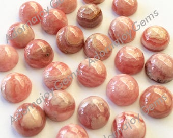 Gemstone Cabochon Rhodocrosite 10mm Round FOR TWO