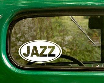 Oval Jazz Decal, Car Decal, Jazz Sticker, Music Decal, Euro Decal, Laptop Sticker, Oval Sticker, Bumper, Vinyl Decal, Car Sticker
