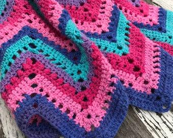 Chevron Afghan Throw - MADE TO ORDER - Crocheted Afghan, Soft Blanket, Home Decor, Handmade Blanket, Chevron Blanket, Knit Afghan, Mom Gift