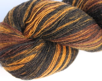 KAUNI Estonian Artistic Wool Yarn Brown Black  8/1,  Art Wool  Yarn for Knitting, Crochet