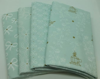FINAL FRIDAY SALE - 4 Yard Bundle of Mint Green Wee Sparkle - 4 Fabrics