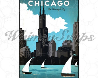 Chicago Lakefront Windy City Vintage Travel Poster DIGITAL IMAGE Download,  .png and .jpeg, transfer to burlap, totes, designs