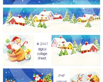 Digital Clipart, Instant Download--Santa Claus Christmas Clip Art, snowy houses, reindeer sleigh--8.5 by 11--Digital Collage Sheet 2441