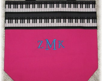 PIANO music lesson book bag, hot pink canvas tote bag personalized MONOGRAM for kids child recital birthday gift idea keyboard embroidered