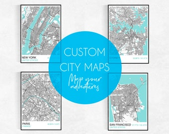 MAKE MAPS, Choose Your Own City, City Map Print, Custom Map Print, Street Map, Wedding, Birthday, Graduation, Map Wall Art, Personalised