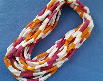 Recycled T-shirt Infinity Scarf Fabric Necklace - pink, orange, and white striped upcycled tshirt scarf necklace, tshirt yarn, tarn