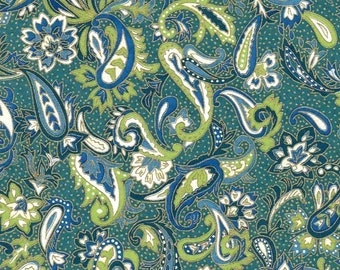Chiyogami or yuzen paper - teal and green floral paisley, 9x12 inches