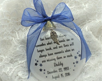 Memorial Ornament Free Personalization and Charm, Our Hearts Will Always Remember for Daddy, Father, Grandfather, Mother, Grandmother
