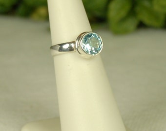 Blue Topaz Ring, Size 5, Sky Blue Gemstone, 2+ Cts, Sterling Silver, December Birthstone, Blue Topaz Solitaire, Light Blue Topaz