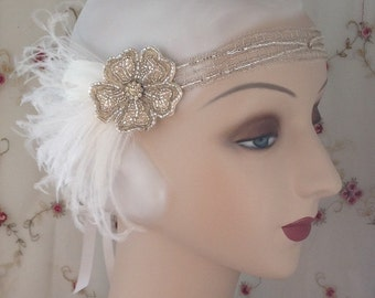 1920s flapper headdress or edwardian headband with flower of silver beads with white feathers - lana