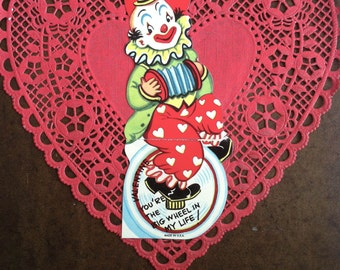 Vintage Clown on Unicycle Playing Accordion Valentine Card