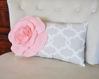 Lumbar Pillow Light Pink Rose on Neutral Taupe / Gray Tarika Lumbar Pillow 9 x 16 -Lattice Trellis-