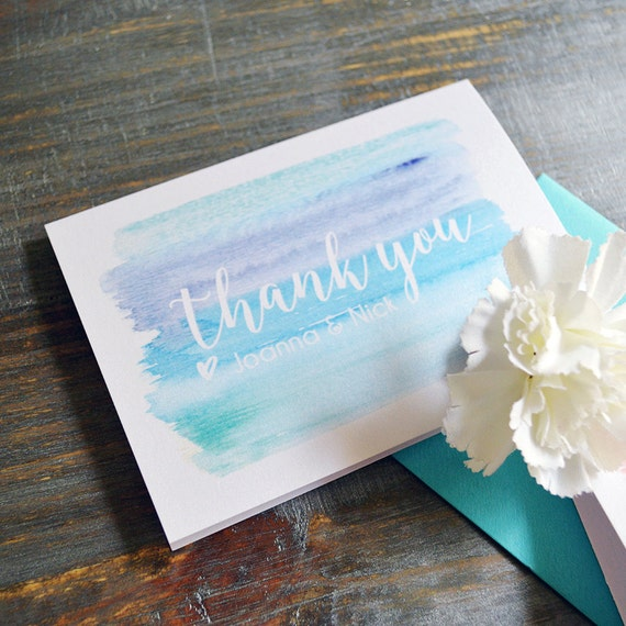 WATERCOLOR Thank You Cards - Shades of Blue - Custom Thank You Notes - Blank Inside - Wedding - Bridal Shower - Many Colors Available(BLUES)
