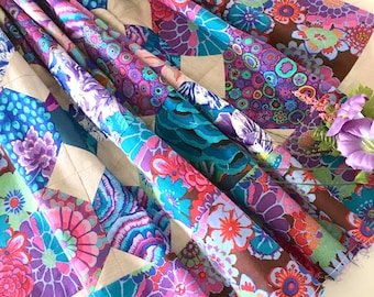 """QUILT TOP 49"""" x 49"""", Kaffe Fassett fabric, Unfinished Quilt, Square, Snowball Block, Purple and Pearl Gray"""