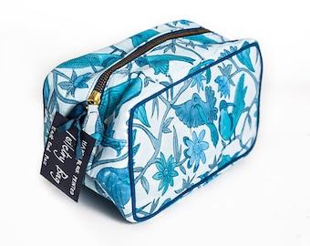 Toiletry Bag, Hand block printed - wash bag, makeup bag, toiletry bag, cosmetic bag