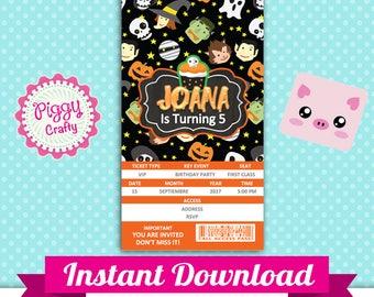 Halloween 003 Invitation Ticket Editable Text in PowerPoint English and Spanish