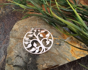 Tree of Life Pendant, Tree of Life Charm, Family Tree Pendant, Family Tree Charm, Silver Plated Tree of Life, Large Size