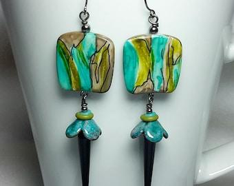 lime teal earrings
