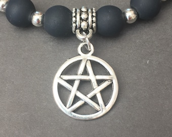 Black Beaded Stretch Bracelet with Pentacle Charm