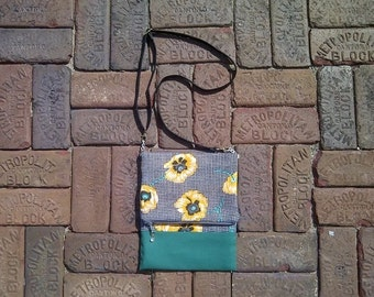 Yellow Poppies Fold Over Purse with Zipper Closure and Adjustable Cross Body Strap