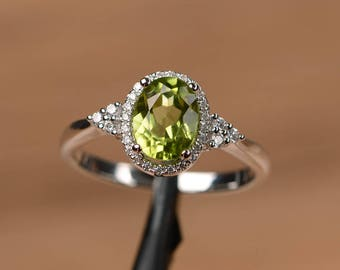 natural peridot ring oval cut promise engagement ring solid sterling silver ring green gemstone August birthstone ring