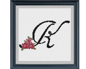 Cursive cross stitch pattern Monogram K needlepoint embroidery monogram k counted cross stitch pattern Initial Letter art Wedding monogram
