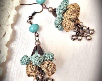 Crochet Floral Earrings  Turquoise  Dangle Earrings Blue Drop Earrings Long Green Earrings Gift for Her Valentine's Day Gift for Sister