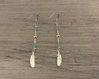 925 silver feather earrings