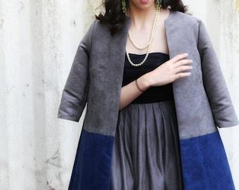 Suede A-line Coat