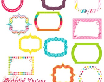 Rainbow Digital Frames Clip Art Commercial Use Instant Download Girly Rainbow