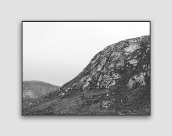 Scotland Landscape Photography Print - Digital Download, Scottish Highlands, Nature Print, Modern Poster, Black & White, Printable Wall Art