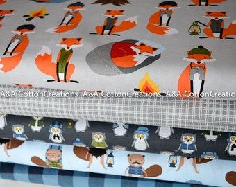 Campsite Critters Quilting Cotton, Bundle of 5, Hipster fabric, Blue Grey Fabric, Boy Fabric, Animal Fabric, Robert Kaufman Fabrics