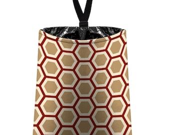 Car Trash Bag // Auto Trash Bag // Car Accessories // Car Litter Bag // Car Garbage Bag - Honeycomb maroon tan beige // Car Organizer