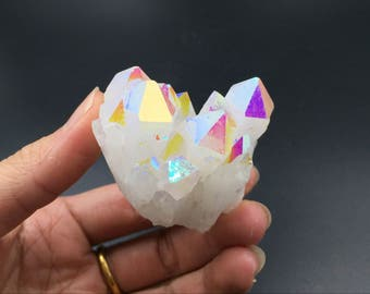 Angel Aura Quartz Cluster Iridescent Aura Crystal Cluster Rainbow Cluster Mineral Chakra Healing Stone Druzy Geode Rock Free Form CD-227