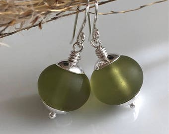 Olive Green Glass Earrings    Sterling Silver Earrings    Cultured Sea Glass
