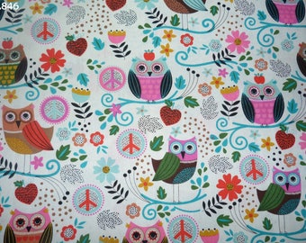 Fabric C846 owls and flowers coupon 48x49cm