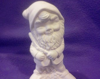 """FREE SHIPPING  Gnome with Clippers 5"""" Ceramic Bisque, Ready To Paint"""