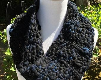 Deep Blue Textured Wool Cowl Scarf