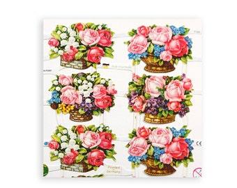 Flower baskets lithographic scrap pictures for paper crafts.  Victorian scraps.  Floral bouquets, baskets, flowers scrap reliefs.  SR004.
