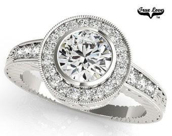 Moissanite  Trek Quality #1 Moissanite Halo Engagement Ring 14kt White Gold, Trek Quality #1, Wedding Ring #6879