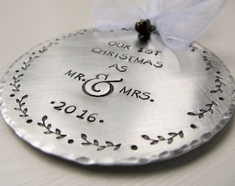 Our First Christmas Ornament Hand Stamped Ornament Wedding Gift Mr and Mrs Ornament Christmas Gift Gift For Him Gift For Her