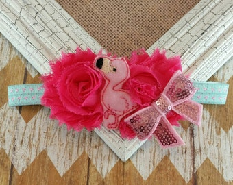 Flamingo baby headband, Flamingo headband, Flamingo, Flamingo hair accessory, baby flamingo headband