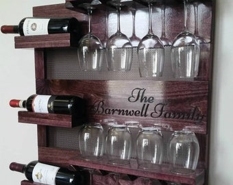 ON SALE Laser Engraved Wine Rack,Stained Wall Mounted Wine Rack with Shelves and Decorative Mesh, Wine and Liquor Shelf and Cabinet