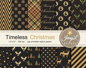 50% OFF Christmas Digital Papers, Black and Gold Glitter, Snow Holiday Digital ScrapbookingPaper,