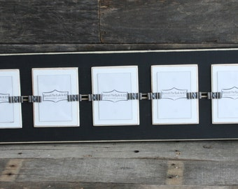 "Picture Frame - School Pictures - Distressed Wood Edges - Holds 5 - School Photos 2 1/ 2"" x 3 1/2 "" - Black and White"