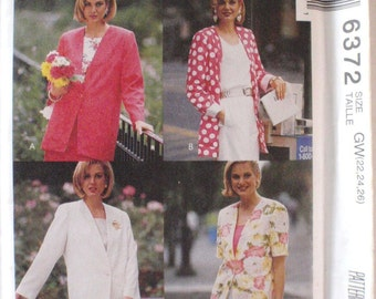 Women's Day Sewing Pattern - Easy Unlined Jacket - McCall's 6372 - Sizes 22-24-26, Bust 44-46-48, Uncut
