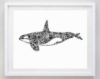 Orca Ocean Floral Watercolor Art Print