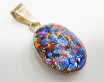 Vintage Sterling Silver Colorful Blue Bezel Set Dichroic Glass Pendant #3244