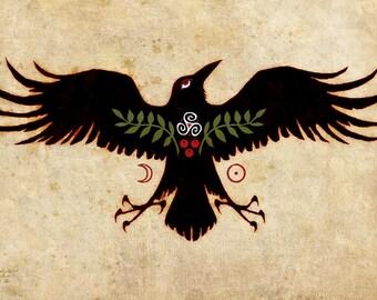 RAVEN TALISMAN ※ Triquetra Otherworld Rowan Triskelion Berry Leaf Italy Sicily Celtic Sun Moon Crow Caw Art Print