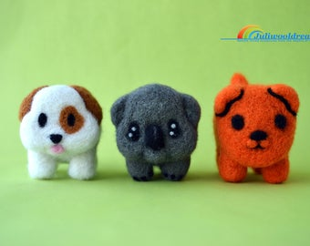 Needle felted emoji, Needle felted animal, Needle felted dog, Koala, Birthday gift, Unique gift, Emojis, Miniature animal, Needle felting